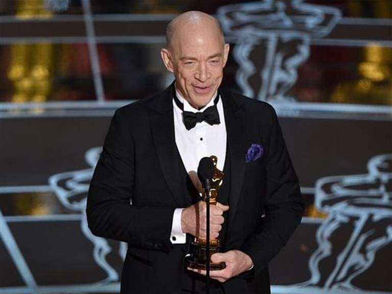 J.K. Simmons accepts the award for best actor in a supporting role
