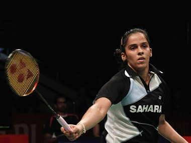 India's Nehwal competes against Germany's Schenk during their women's singles semi final match at the Djarum Indonesia Open badminton tournament in Jakarta