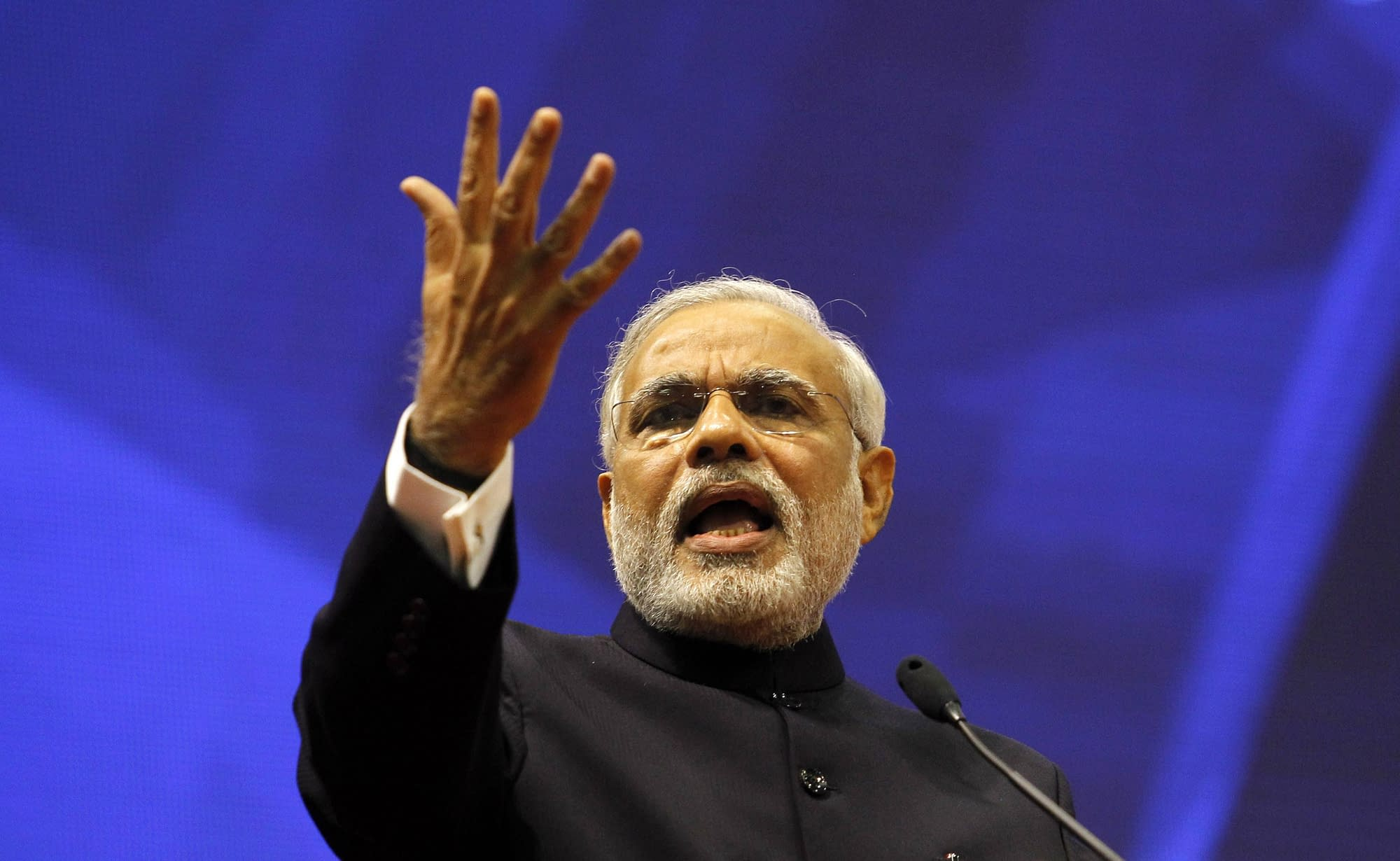 Gujarat's CM Modi speaks during Vibrant Gujarat Summit at Gandhinagar